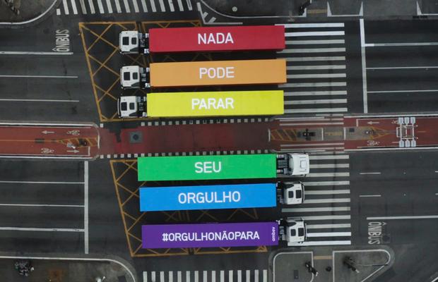 Ambev Trucks Make a Rainbow on Brazil's Most Famous Avenue