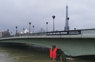 Rosapark Gives Parisian Statue Giant Life Jacket to Raise Global Warming Awareness