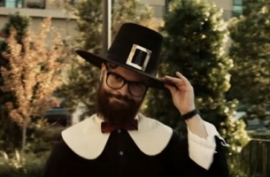 Hipster Pilgrim Rebels Against Thanksgiving Tradition for Stove Top