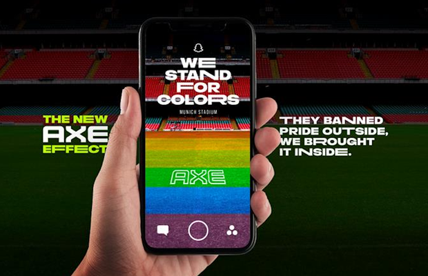 AXE Rejects UEFA Ruling andHijacks Football Pitch with Pride Flag