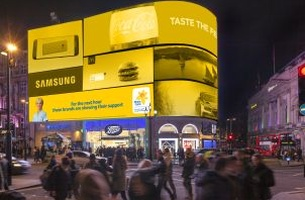 Saatchi London and Marie Curie Turn Piccadilly Circus Yellow