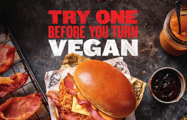 KFC Takes a Swipe at Vegans with Bacon Burger Print Campaign
