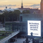 A Nordic Newspaper Placed Billboards Along Trump and Putin's Routes from the Airport