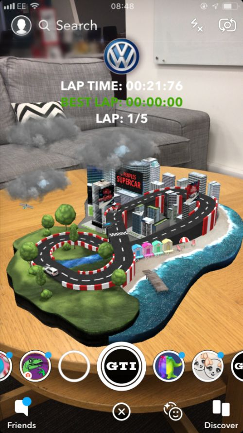 volkswagen augmented reality race track for Snpachat
