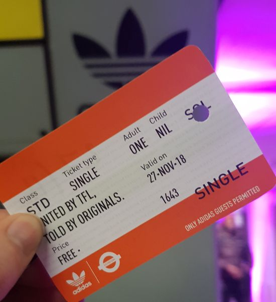 adidas fake london underground tube ticket or travel card