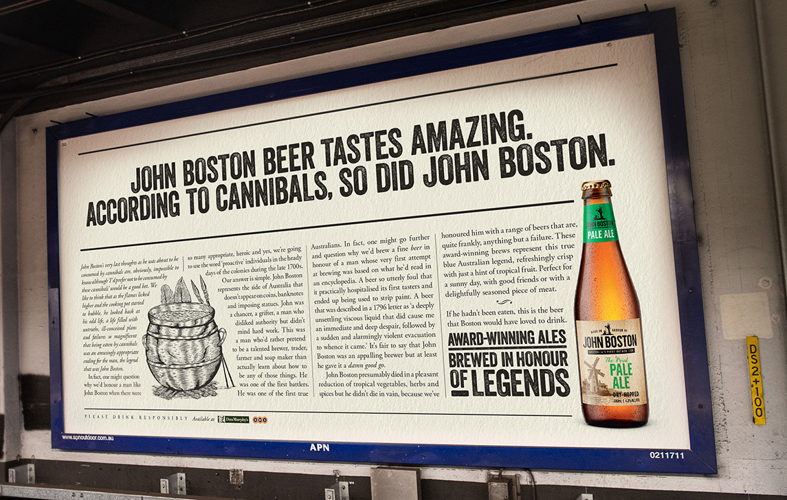John Boston Taps Into The Legend With 'Brewed in Honour of Legends' Campaign via M&C Saatchi, Sydney