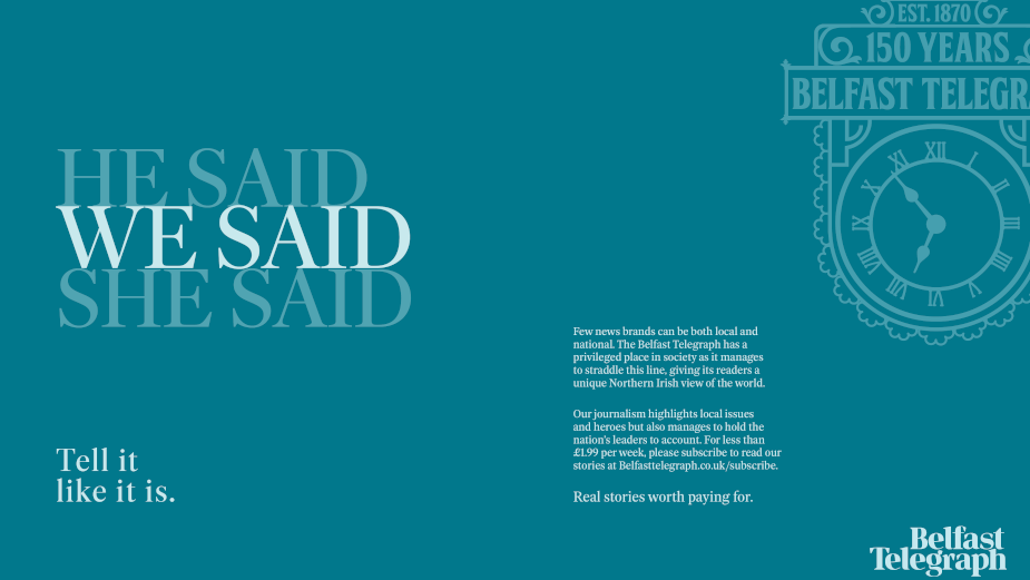 The Public House Freshens The Belfast Telegraph in Progressive Brand Campaign