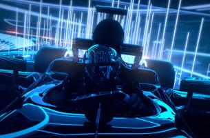 Animated Racing Car Zooms Through Tron-Esque Digital Landscape in Casio Campaign
