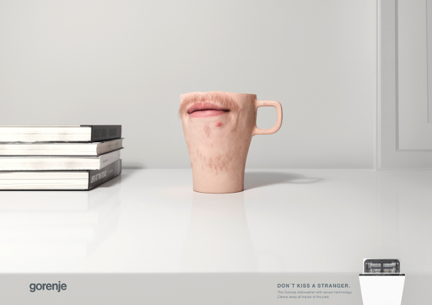Quirky Dishwasher Ads Warn Against 'Kissing Strangers' Through Mugs