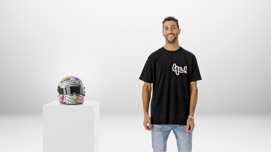 Formula 1 Driver Dan Ricciardo and His Helmet Return for Optus Spot