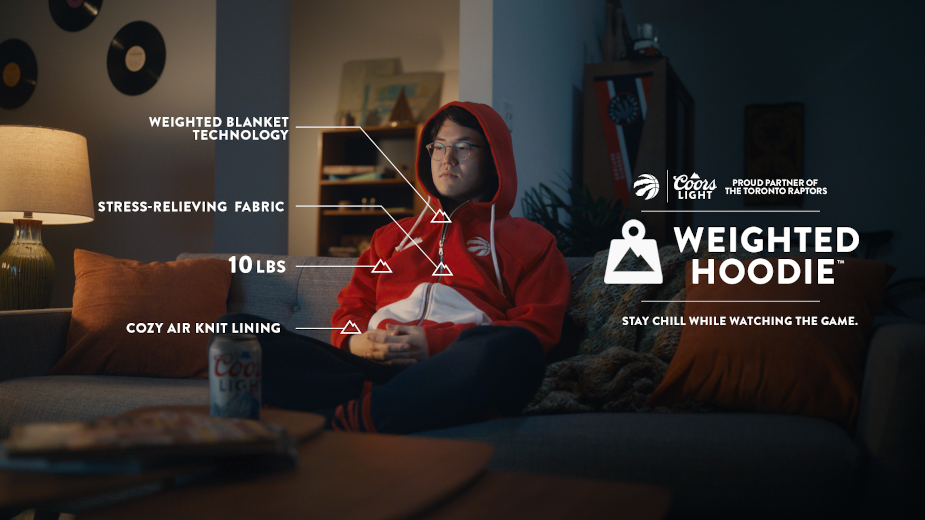 Coors Light's 10-pound Weighted Hoodie Keeps Raptors Fans Chill During NBA Season