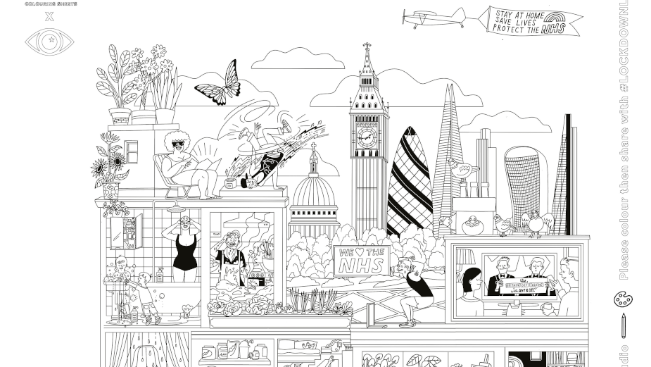 Bring Lockdown London to Life with Supersized Colouring Sheets