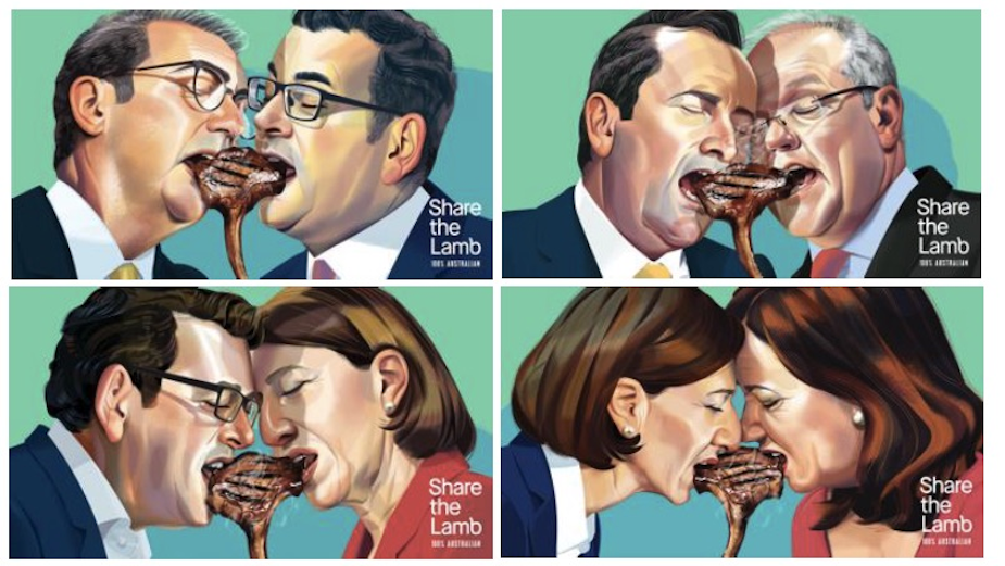 Feuding State Leaders Share the Lamb in Mural Activation for Australian Lamb