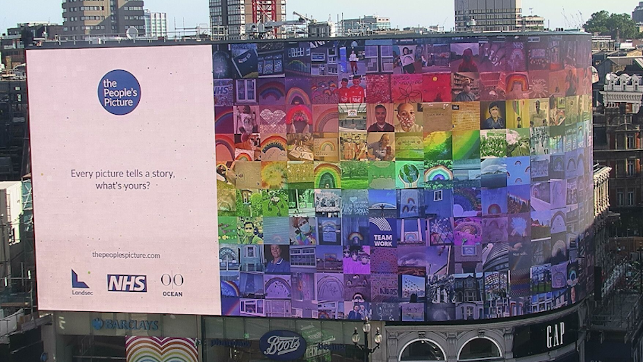 Rainbow Mosaic of Hope Brightens the Screens of Piccadilly Lights
