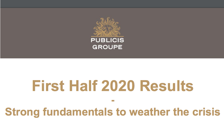 Publicis Groupe Announces First Half 2020 Results