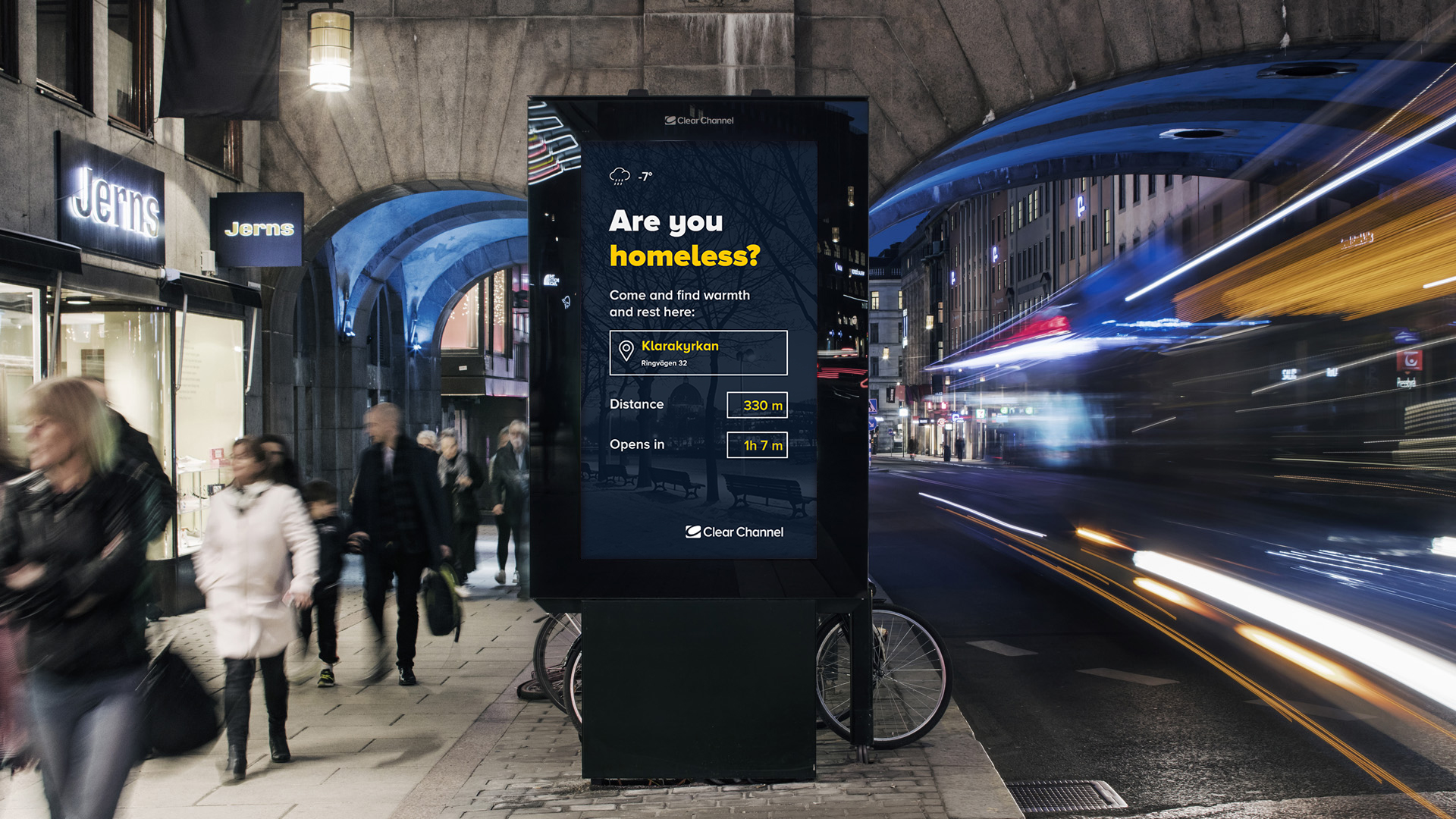 Clear Channel Donates Stockholm Out of Home Space to Help the Homeless this Christmas