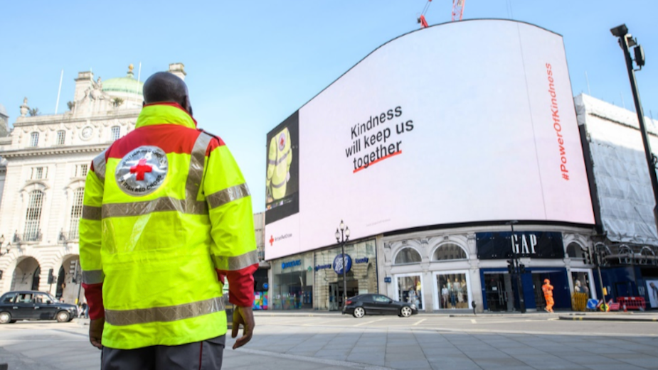 British Red Cross Takes Over Piccadilly Lights to Thank Nation for Covid-19 Acts of Kindness