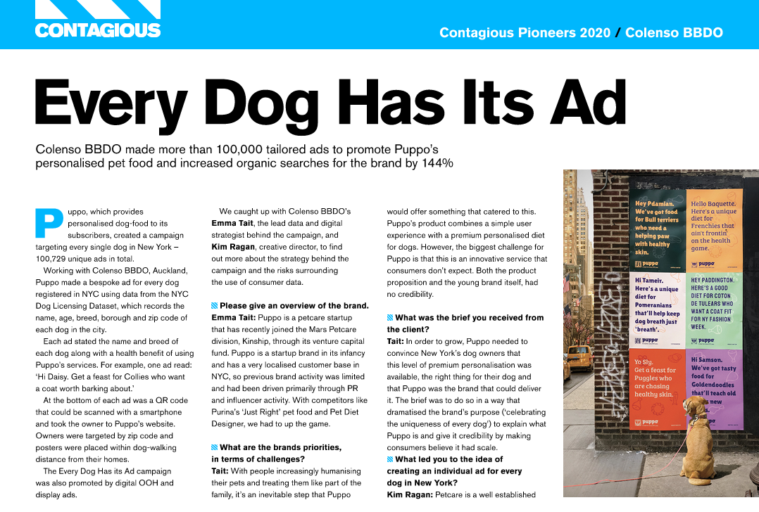 Colenso BBDO Named Among Top 10 Contagious Pioneers 2020