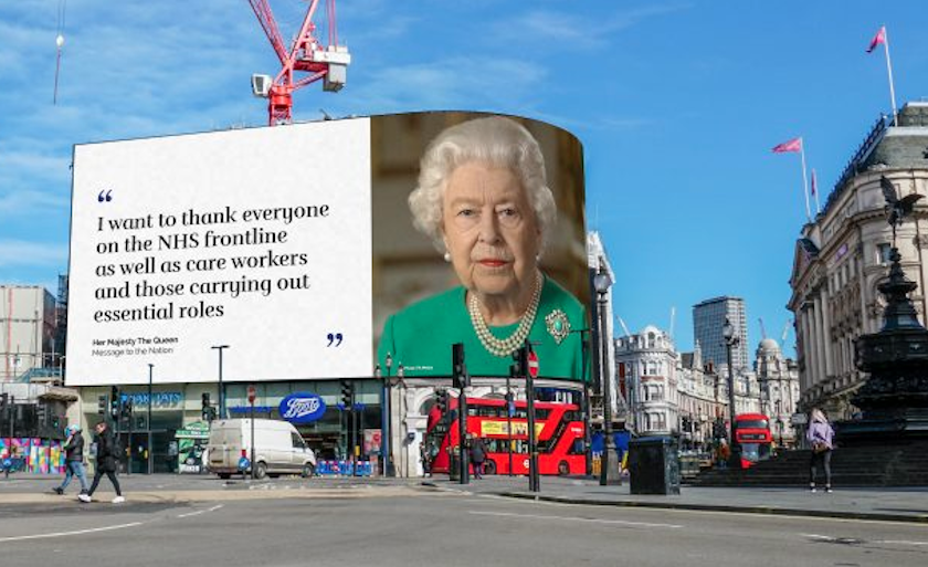 The Queen's Covid-19 Message of Hope Dazzles Citizens of London in Piccadilly Lights