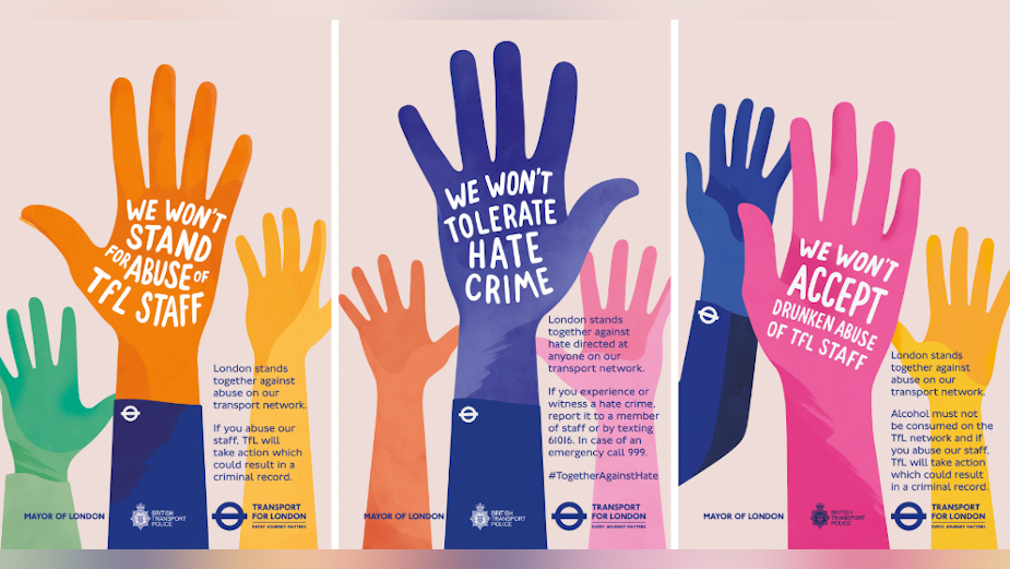 TFL's Colourful Hands Stand Up Against Hate on Public Transport
