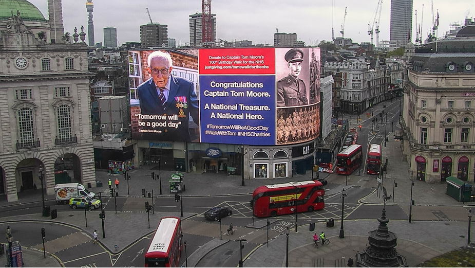 Saluting Captain Tom Moore in Piccadilly Lights