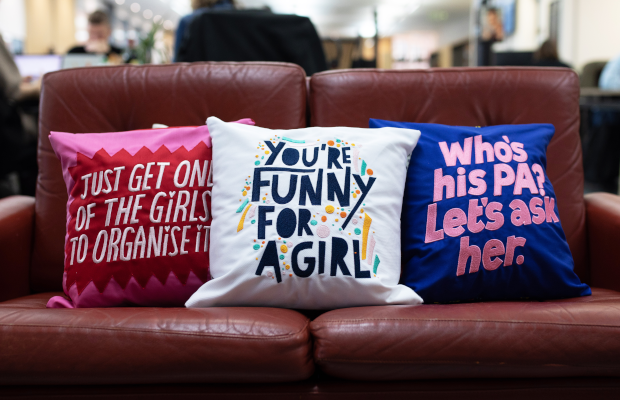 VCCP Calls Out Gendered Phrases with Embroidered Cushion