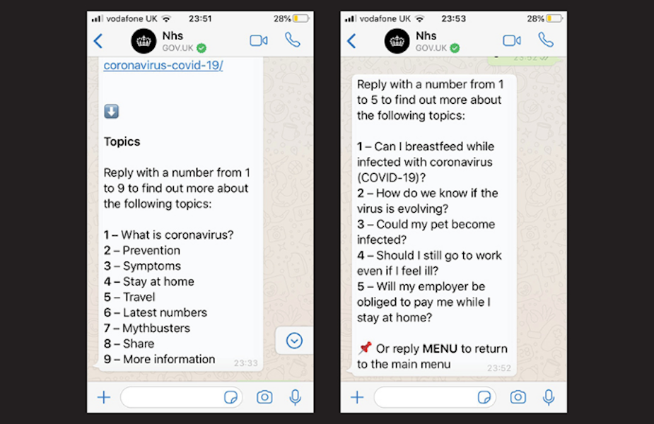 UK Government Launches Coronavirus Whatsapp Service
