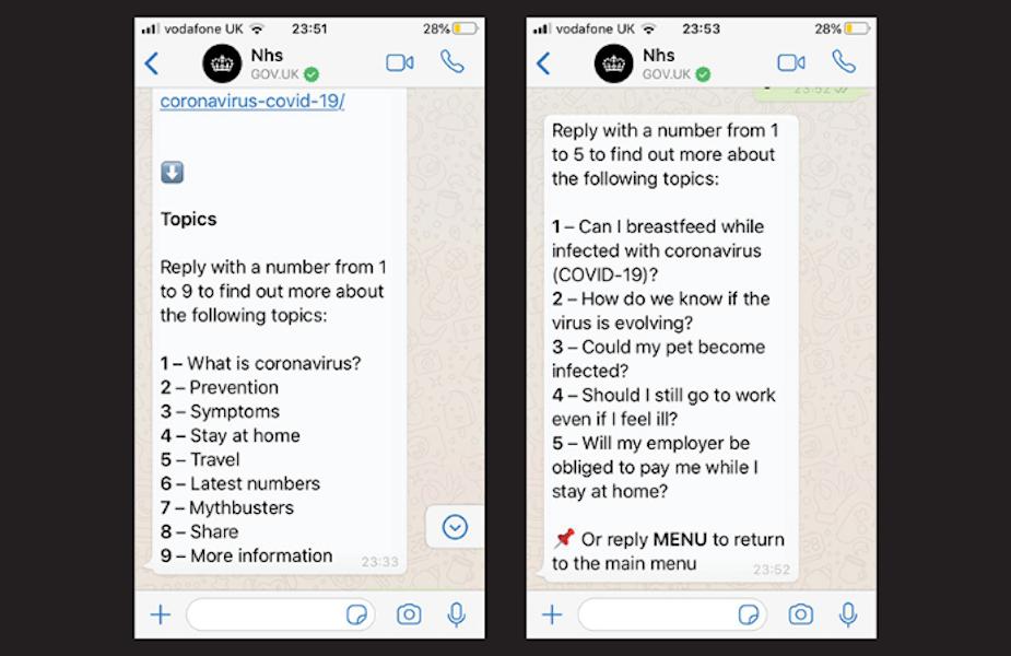 UK Government Launches Coronavirus Whatsapp Service