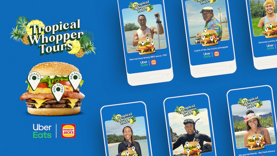 Holiday Guides Swap Tours of Tropical Destinations for Tropical Whopper Burger in Latest Uber Eats Campaign