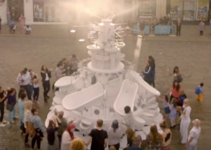 This Fountain is Made Entirely Out Of Victoria Plum Bathroom Products
