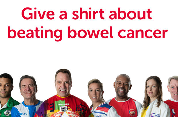 Give a Shirt about Beating Bowel Cancer with Bobby Moore Fund Charity Campaign