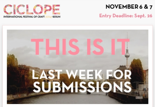 Last Chance to Submit Any Work to Ciclope Festival