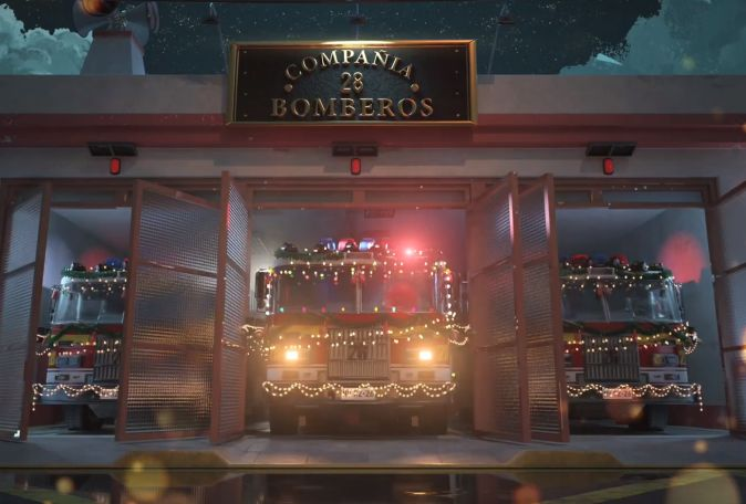 Firefighter Working Christmas Eve Brings the Festive Spirit in Cute Animation