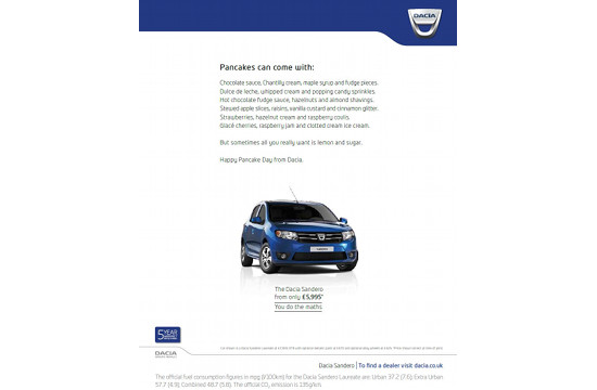 Dacia's Pancake Day Print Ad