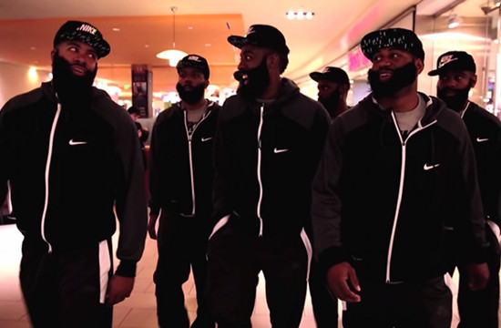 Team of James Hardens Head to the Mall in Foot Locker Stunt