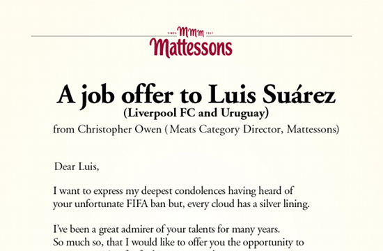 Mattessons Offers Luis Suarez a Job - as 'Official Meat Taster'