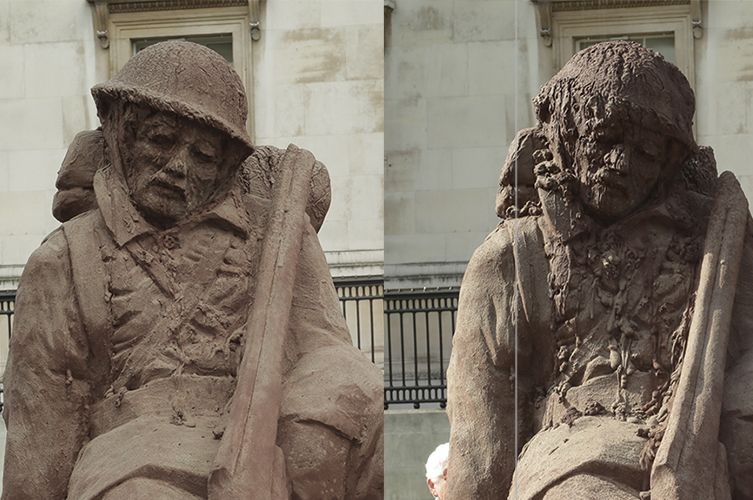 Soldier Sculpture Slowly Dissolves in London to Mark the Battle of Passchendaele