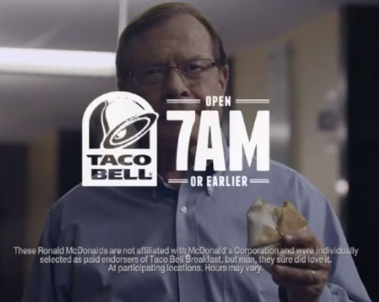 Ronald McDonalds proclaim their love for Taco Bell