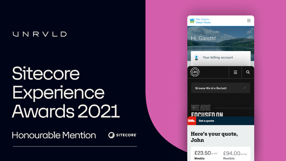 UNRVLD Awarded Three Honours at the 2021 Sitecore Experience Awards